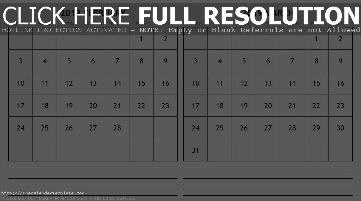 February And March 2019 Calendar Printable